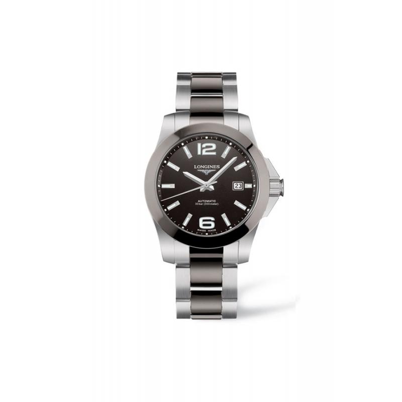 """Reloj Longines """"Conquest"""" automático de hombre en acero y cerámica L36574067"""