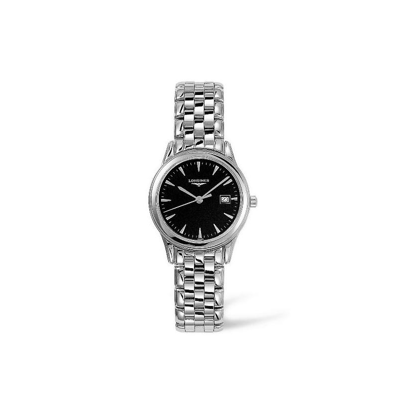 """Reloj Longines """"Flagship"""" de mujer en acero y esfera negra L45074526"""