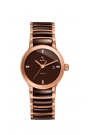 """Reloj Rado para mujer de acero dorado y cerámica marrón con diamantes """"Centrix"""" R30183722"""