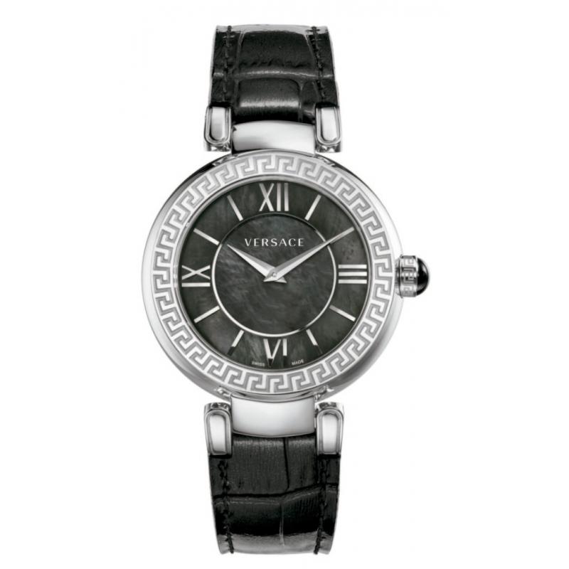 """Reloj Versace """"Leda"""" de mujer en acero, nácar y correa piel negra VNC01 0014"""