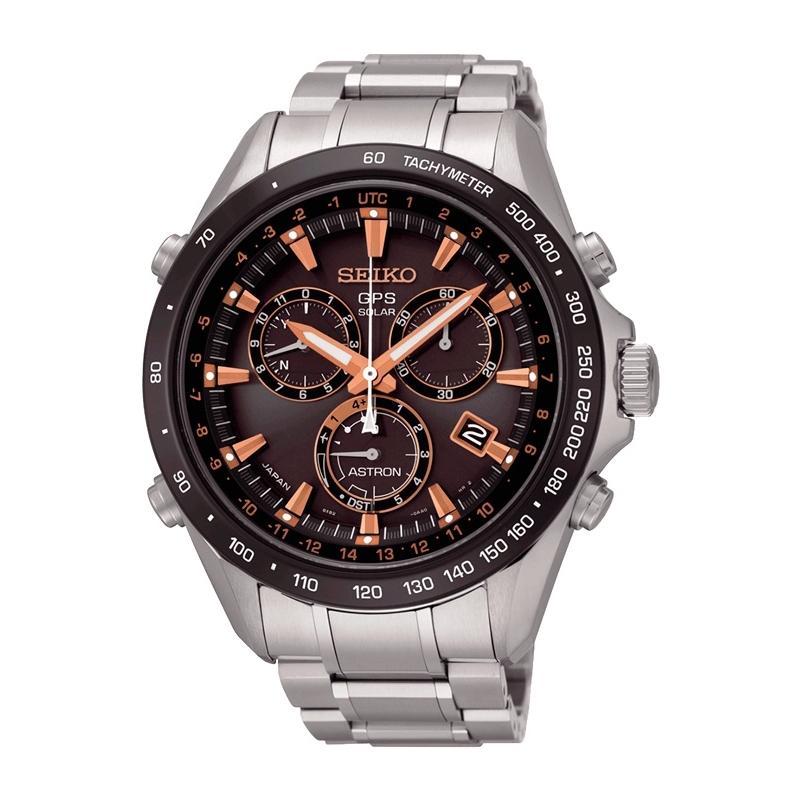Reloj Seiko Astron Solar GPS de hombre, en acero con detalles en burdeos SSE033J1