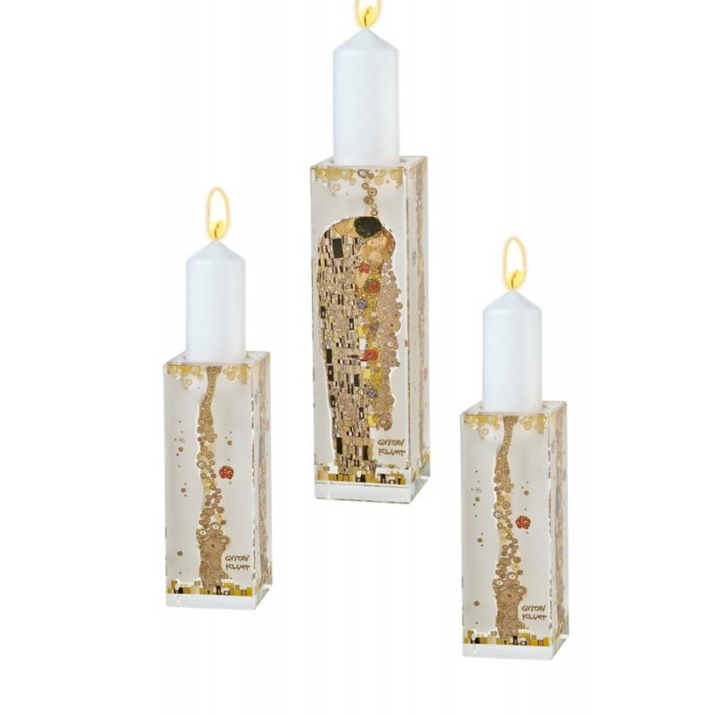 """Conjunto de 3 candeleros de cristal de Gustav Klimt """"El Beso"""", de Goebel"""