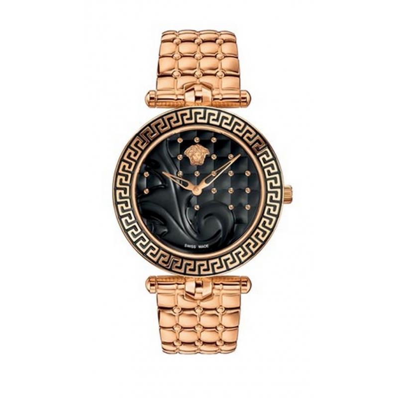 Reloj Versace Vanitas de mujer dorado oro amarillo con esfera negra VK725 0015