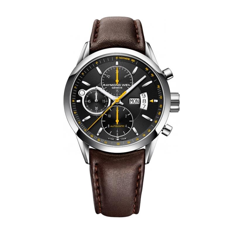 """Reloj Raymond Weil automático de hombre """"Freelancer"""" con correa de piel marrón 7730-STC-20021"""