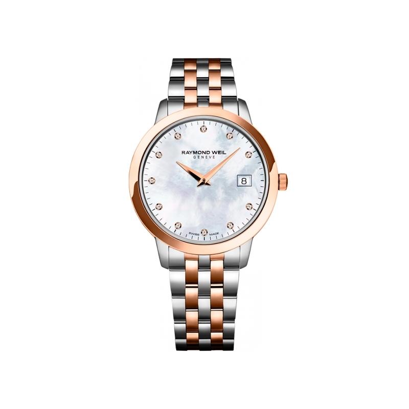 """Reloj Raymond Weil de mujer """"Toccata"""" en acero parcialmente dorado, esfera de nácar y diamantes 5388-SP5-97081"""
