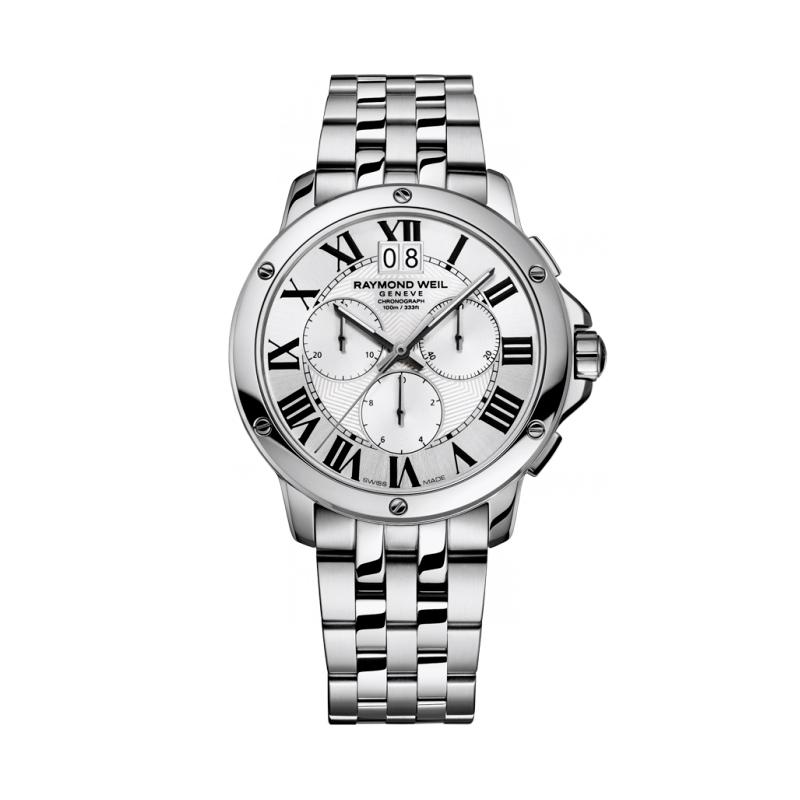 """Reloj Raymond Weil de hombre """"Tango"""" de acero con cronógrafo, 4891-ST-00650"""