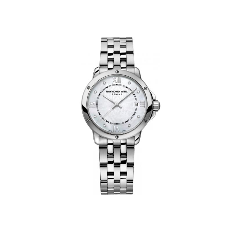 """Reloj Raymond Weil de mujer """"Tango"""" en acero con esfera de nácar y diamantes 5391-ST-00995"""