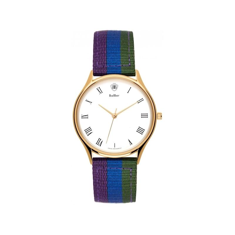 """Reloj Balber unisex """"Majestic"""" con correa de nylon morado, azul y verde."""
