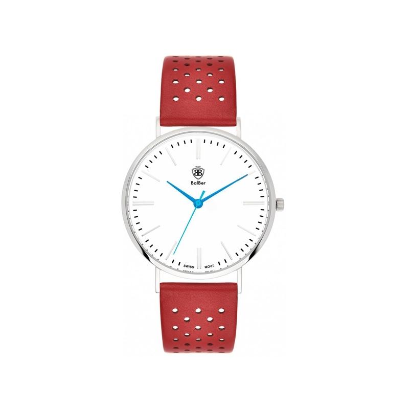 """Reloj Balber unisex """"Original 1948"""" con esfera blanca y correa de piel perforada roja."""