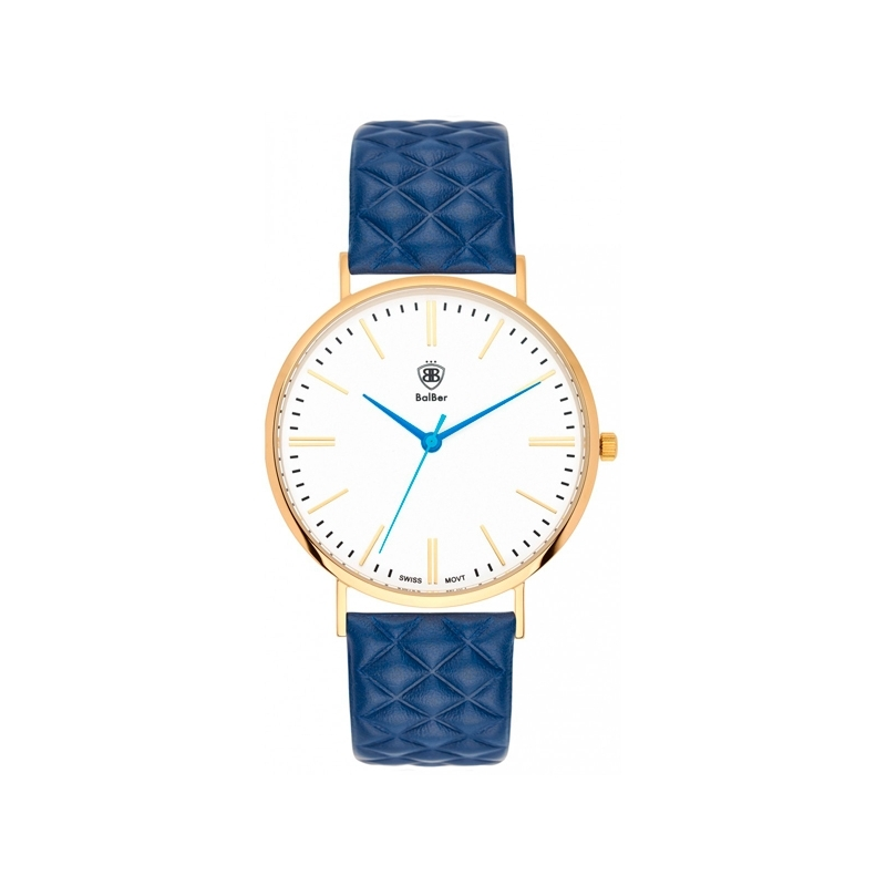 """Reloj Balber unisex """"Original Rombus"""" dorado, esfera blanca y correa piel azul."""