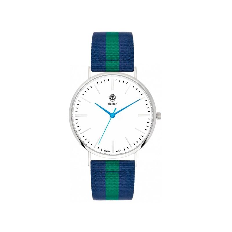 """Reloj Balber unisex """"Original Leisure"""" con esfera blanca y correa nylon azul y verde"""
