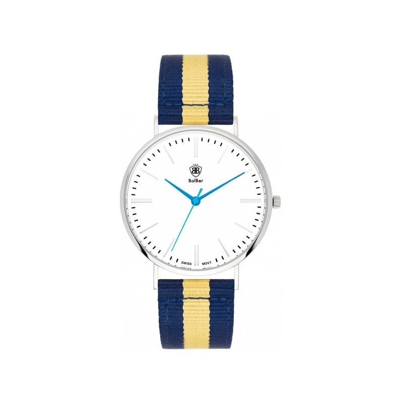 """Reloj Balber unisex """"Original Leisure"""", con esfera blanca y correa nylon azul y amarilla"""