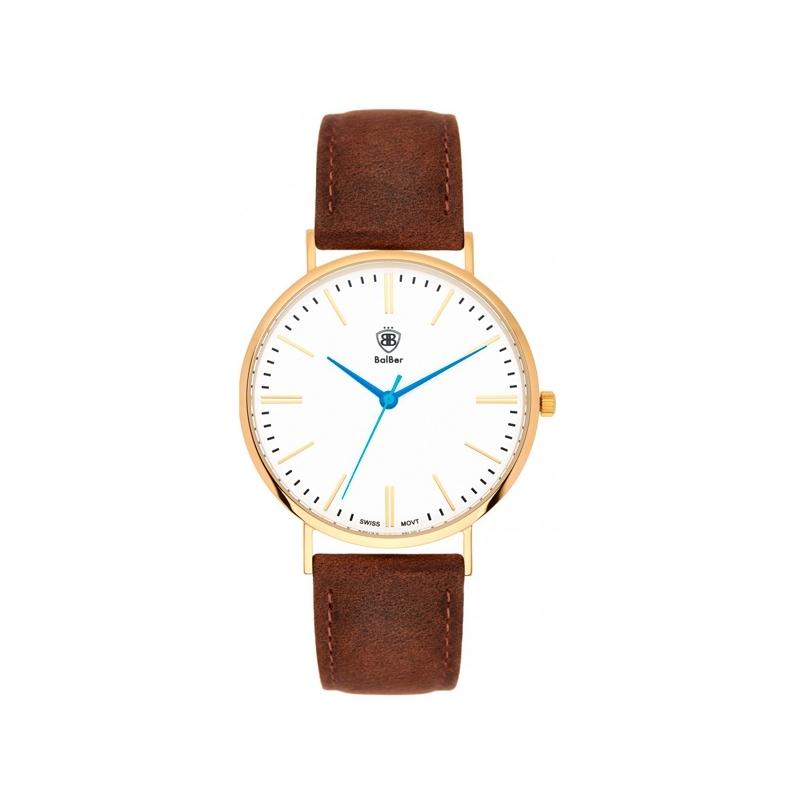 """Reloj Balber unisex """"Origianl Widco"""" dorado, esfera blanca y correa piel marrón."""