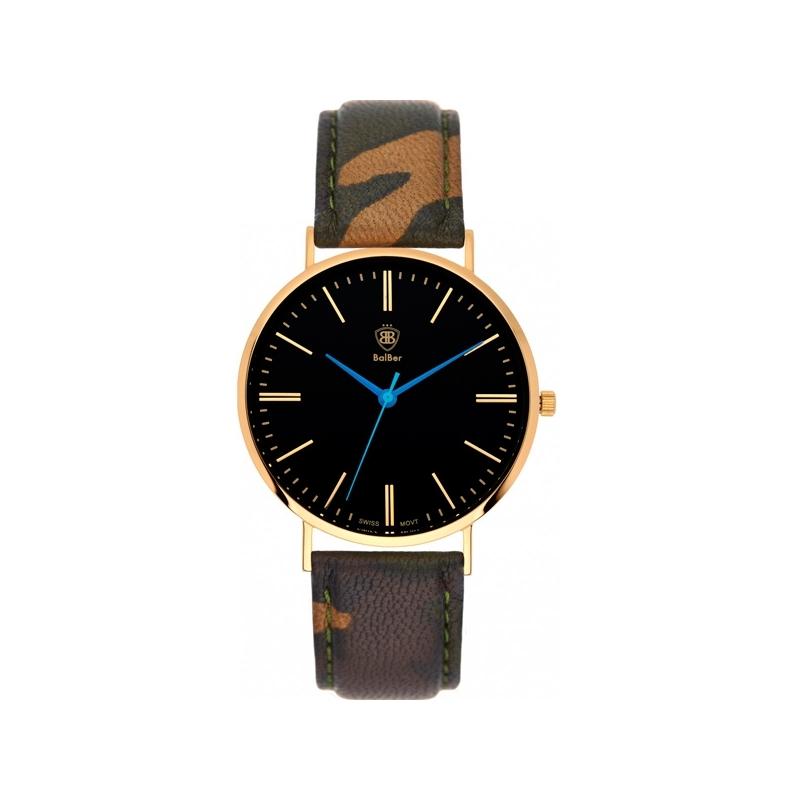 "Reloj Balber Camo G BlackReloj Balber unisex ""Original Camo"" dorado, esfera negra y correa de camuflaje."