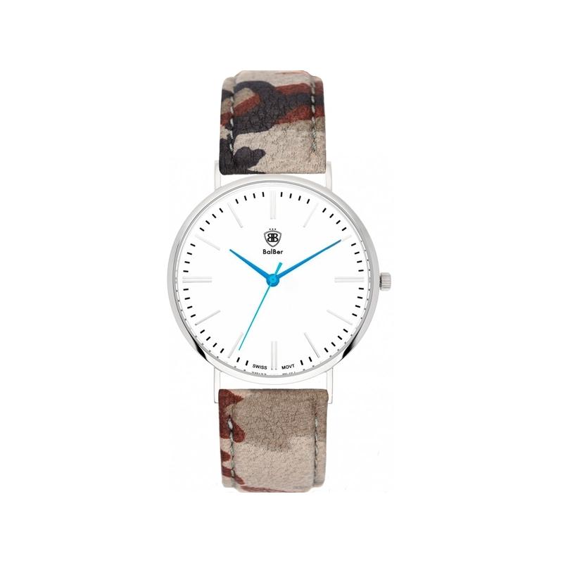 """Reloj Balber unisex """"Original Camo"""" con esfera blanca y correa camuflaje."""