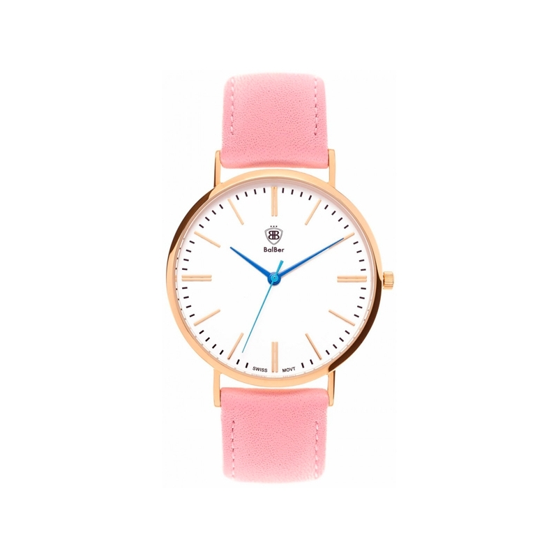 """Reloj Balber unisex """"Original Bloom"""" dorado, esfera blanca y correa rosa."""