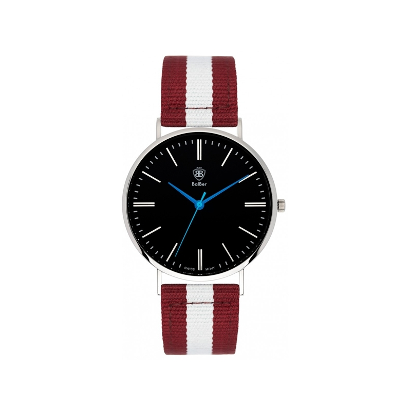 "Reloj Balber unisex ""Original Leisure"" con esfera negra y correa nylon roja y blanca"