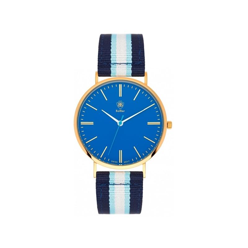 """Reloj Balber de hombre/mujer """"Original Leisure"""" dorado, esfera azul y correa a rayas."""