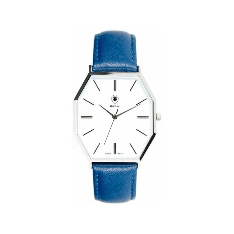 """Reloj Balber para hombre/mujer """"Exeter"""" esfera blanca y correa piel azul."""