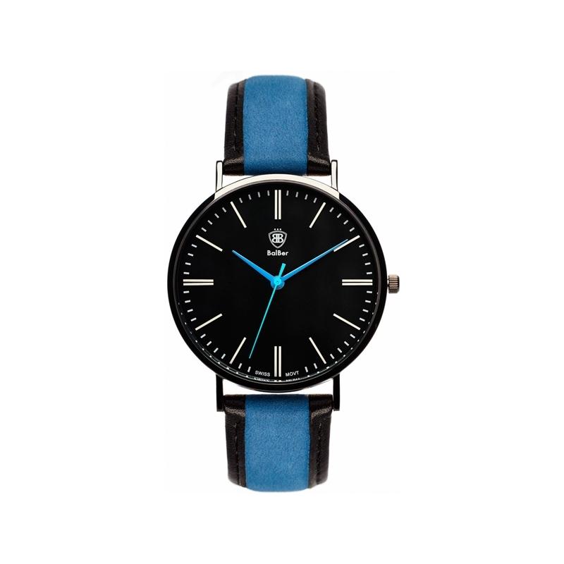 """Reloj Balber """"Original Special"""" caja chapada negra, esfera negra y correa a rayas."""