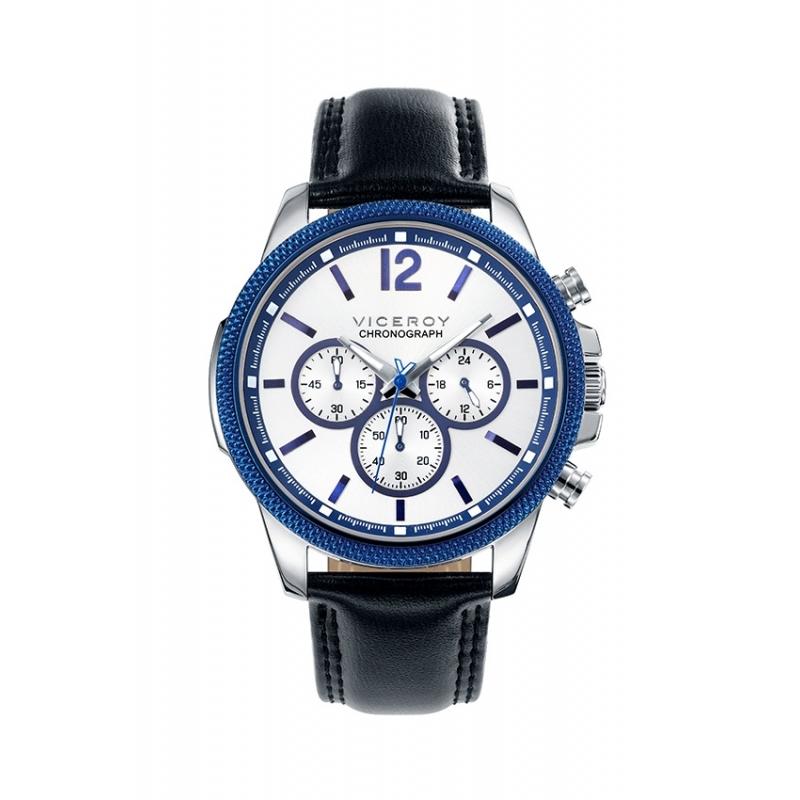 """Reloj Viceroy """"Sportif"""" de hombre cronógrafo, con caja de acero y correa piel 40507-05."""