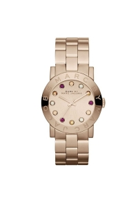 """Reloj Marc by Marc Jacobs de mujer """"Amy"""" dorado en oro rosa con circonitas MBM3216."""