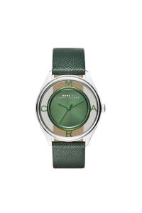 "Reloj Marc by Marc Jacobs de mujer ""Tether Skeleton"", con correa de piel verde tether MBM1378."
