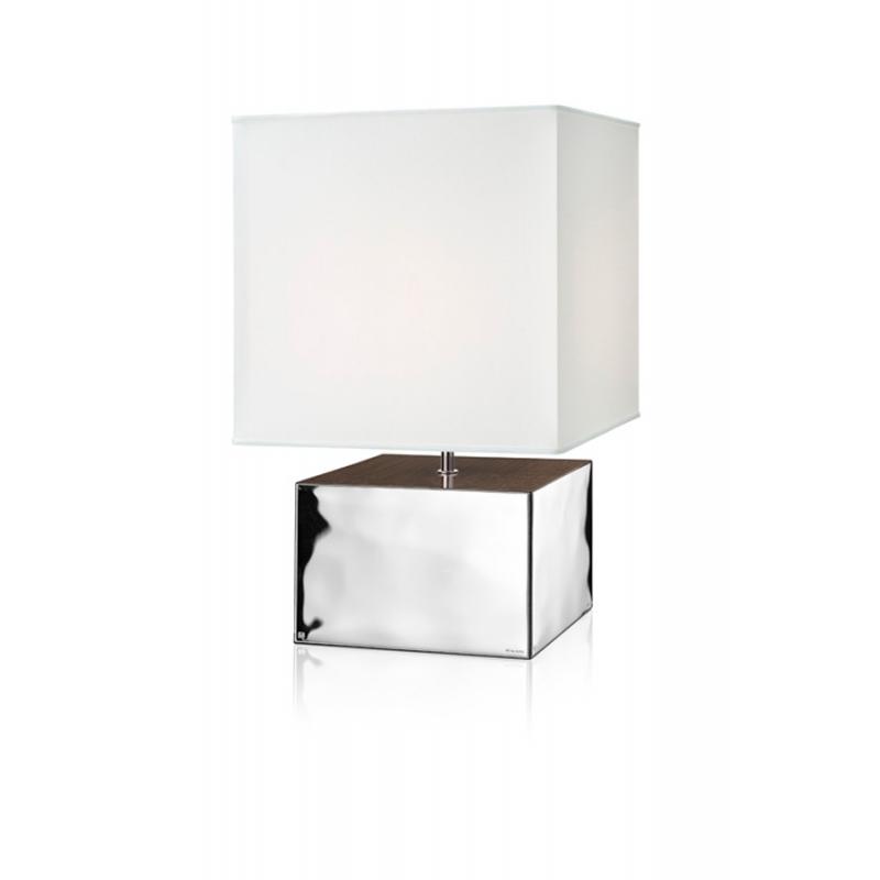 """Lámpara de mesa en madera y plata bilaminada, con tulipa en tela, """"Liquido"""" de Italsilver."""
