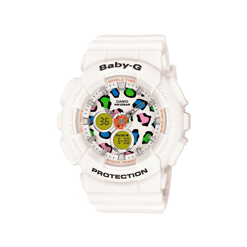 "Reloj Casio Baby-G ""Leopard Face"" digital de mujer, en color blanco BA-120LP-7A1ER"