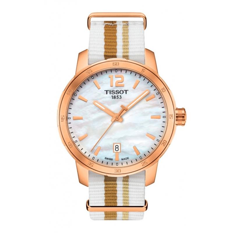 Reloj Tissot Quickster con caja dorada, esfera nácar y correas NATO intercambiable T0954103711700