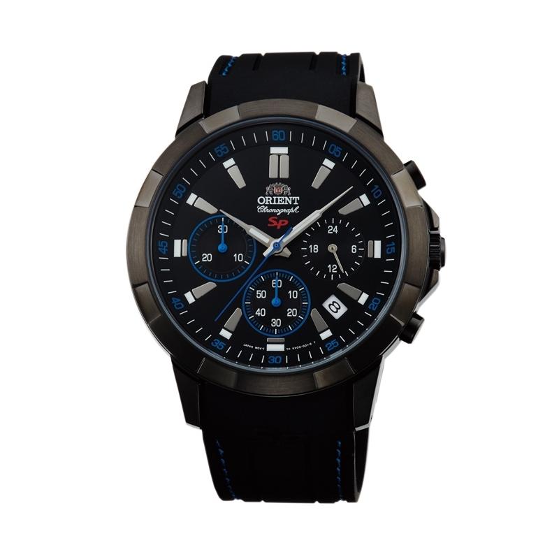 """Reloj Orient de hombre """"SP"""" cronógrafo con caja y correa caucho negra KV00007B"""