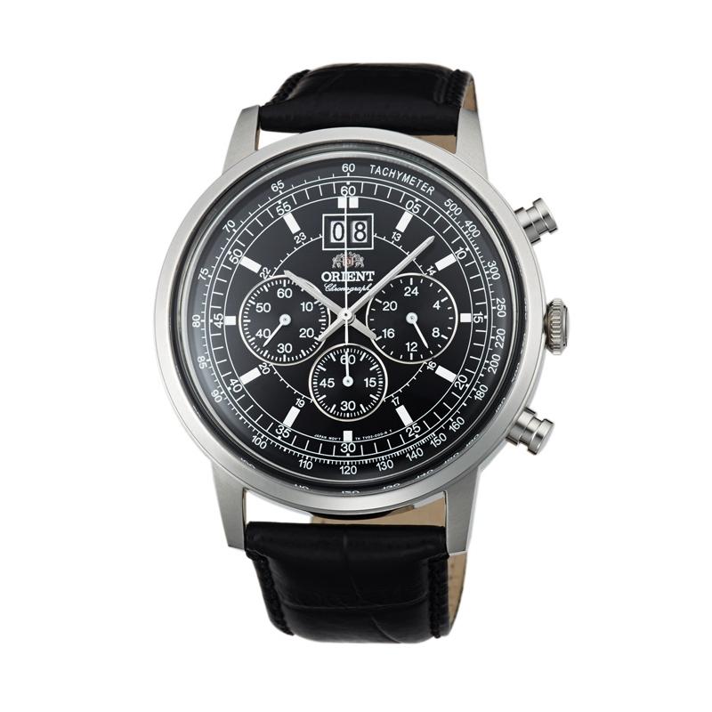 Reloj Orient de hombre con cronógrafo y taquímetro, correa de piel TV02003B