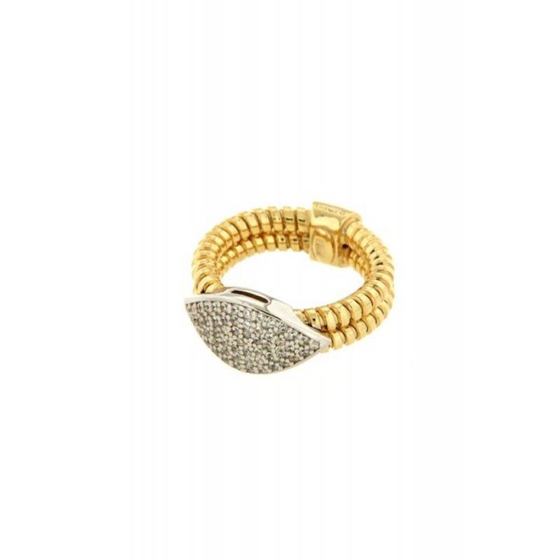 Anillo de plata dorada en oro amarillo para mujer, con circonitas, de Terero.