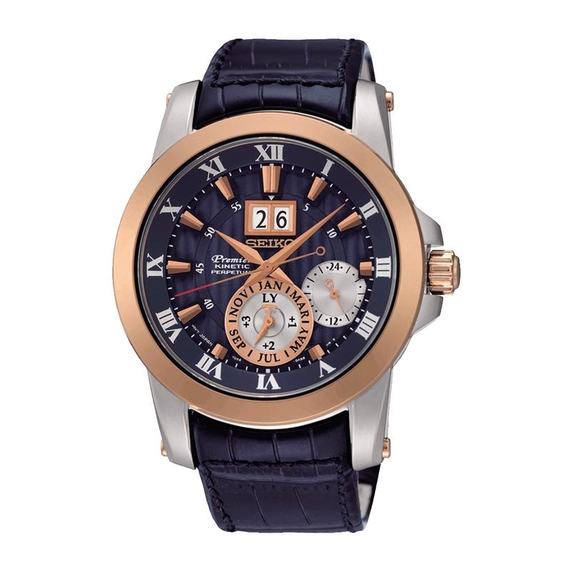 """Reloj Seiko """"Premier"""" Kinetic edición especial """"Novak Djokovic"""", con calendario perpetuo y caja propia SNP126P1"""