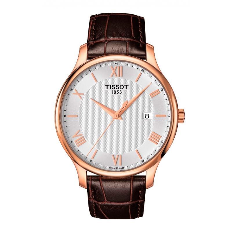 Reloj Tissot Tradition para hombre estilo clásico, con caja de acero dorada y correa de piel T0636103603800