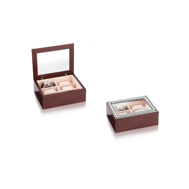 """Caja de madera con cristal y detalle de plata para relojes, 13x18 cms, """"Martellata"""" de Italsilver"""