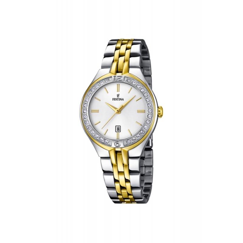 """Reloj Festina de mujer """"Mademoiselle"""" en acero bicolor dorado oro amarillo y circonitas F16868/1"""