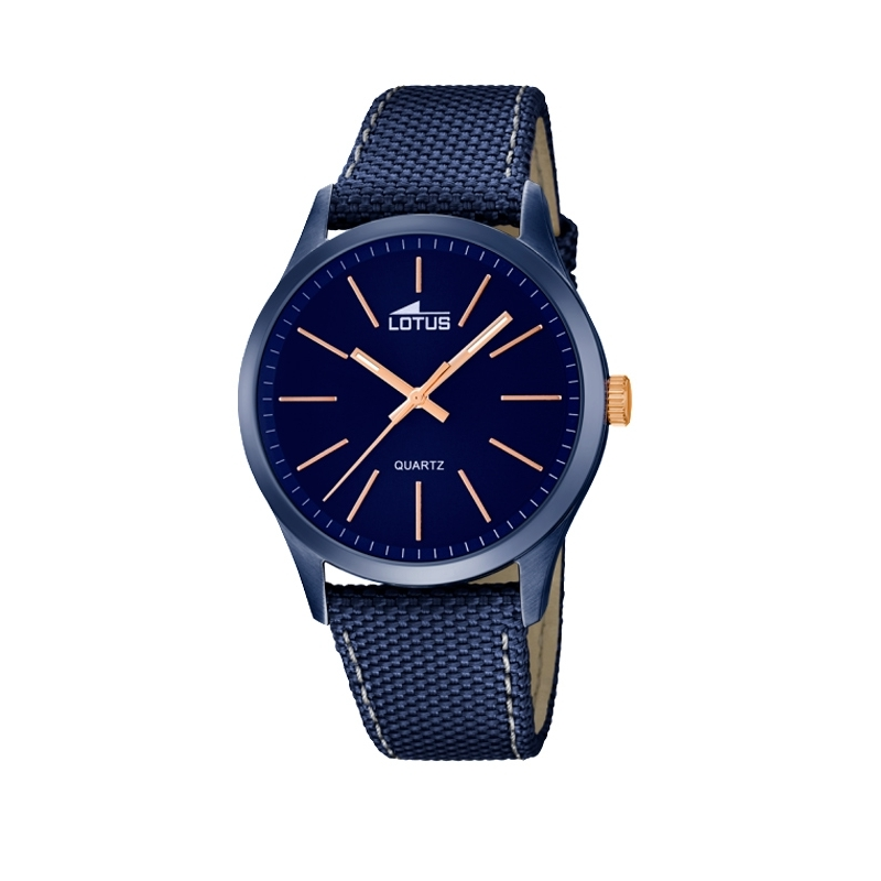 """Reloj Lotus de hombre """"Smart Casual"""" con caja acero chapado en azul y correa. 18166/2"""