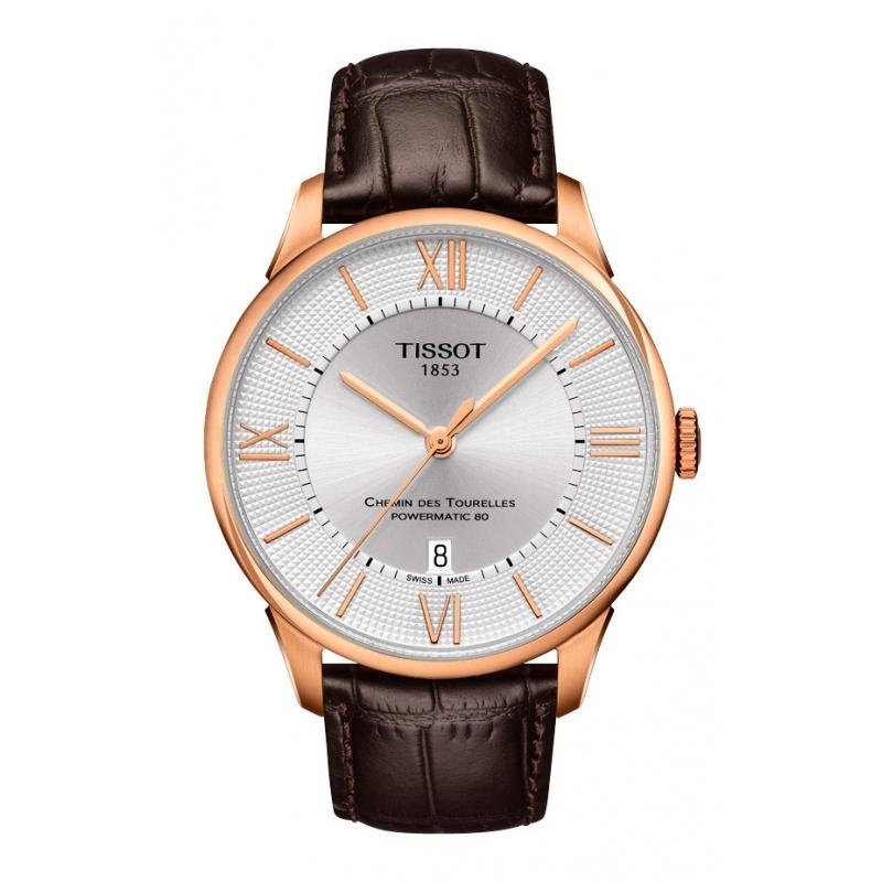 """Reloj Tissot """"Chemin de Tourelles"""" automático de hombre, con caja dorada y correa piel T0994073603800"""