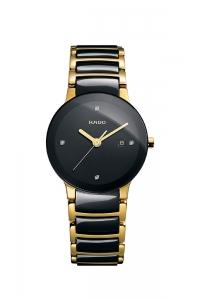 """Reloj Rado """"Centrix"""" de mujer en acero dorado y cerámica negro, con diamantes en esfera R30930712."""