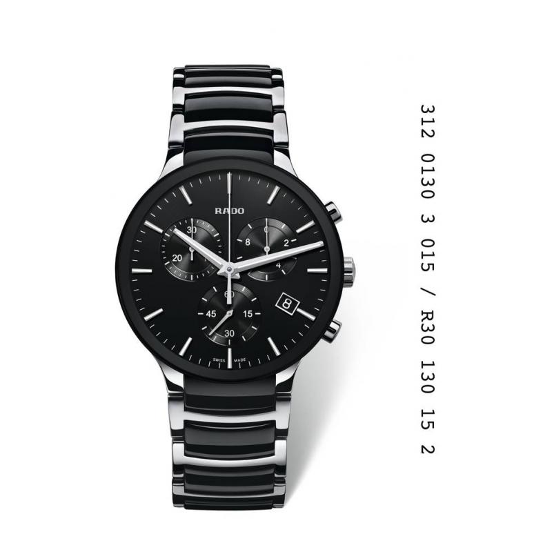 """Reloj Rado """"Centrix"""" de hombre, en acero y ceramica negra, con cronógrafo R30130152"""