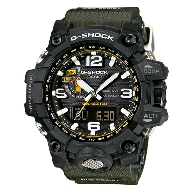 """Reloj Casio G-Shock Premiun """"Mudmaster"""" con triple sensor, Wave Recetor y Tough Solar, correa verde GWG-1000-1A3ER"""