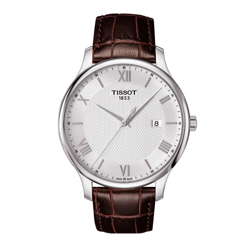 Reloj Tissot Tradiction de hombre de estilo clásico, con correa de piel, T0636101603800