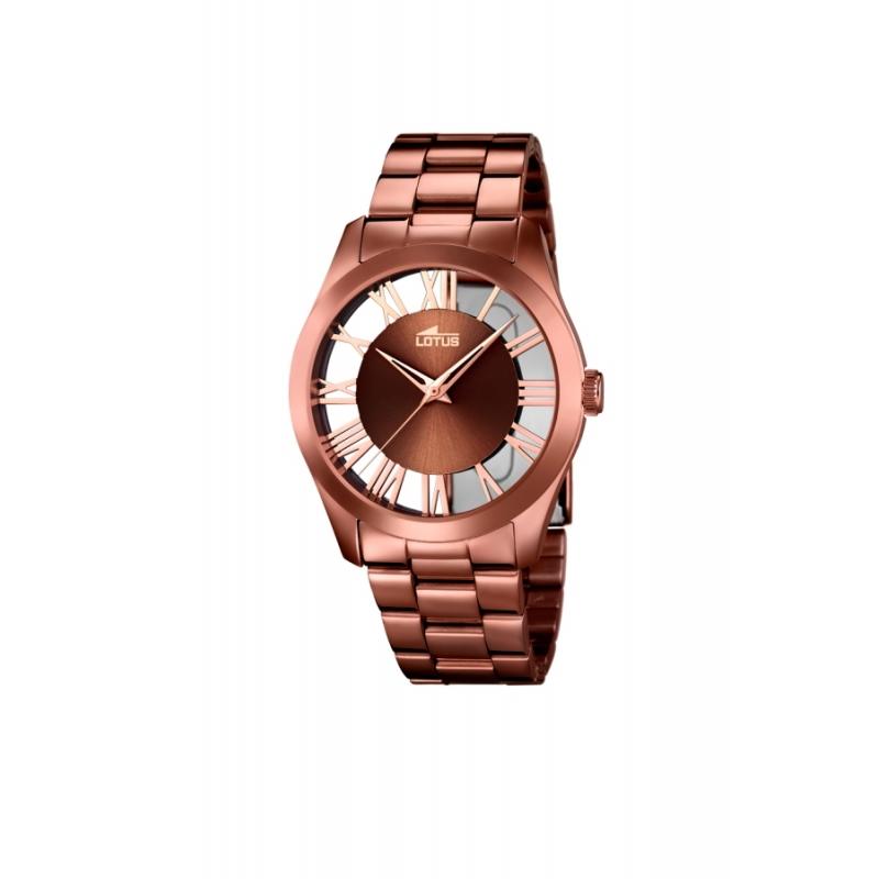 """Reloj Lotus de mujer """"Trendy"""" en acero chapado en marron chocolate 18125/1"""