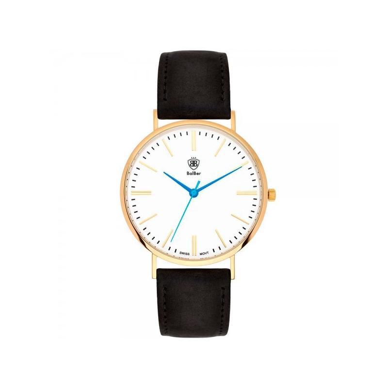 """Reloj Balber unisex """"Original Widco"""" dorado, esfera blanca y correa piel negra"""