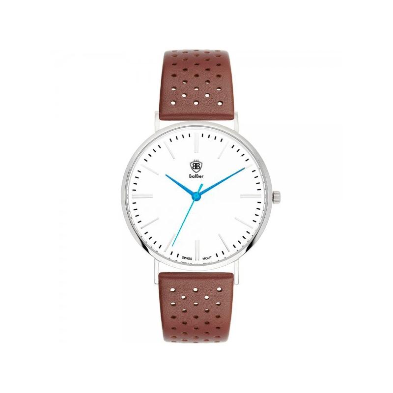 """Reloj Balber unisex """"Original 1948"""" con esfera blanca y correa de piel marrón agujereada"""