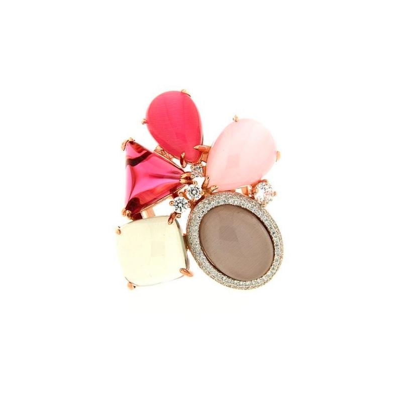 Sortija de plata dorada en oro rosa con piedras en tonos rosa gris, de Terero.