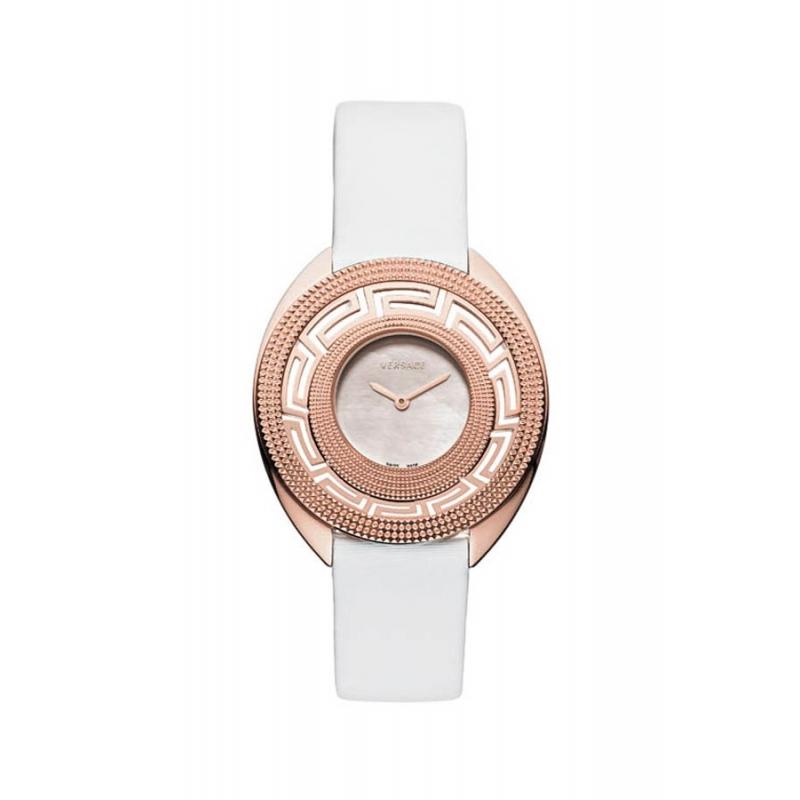 """Reloj Versace de mujer """"Destiny"""" dorado en oro rosa y correa de piel blanca 67Q80D498S001"""