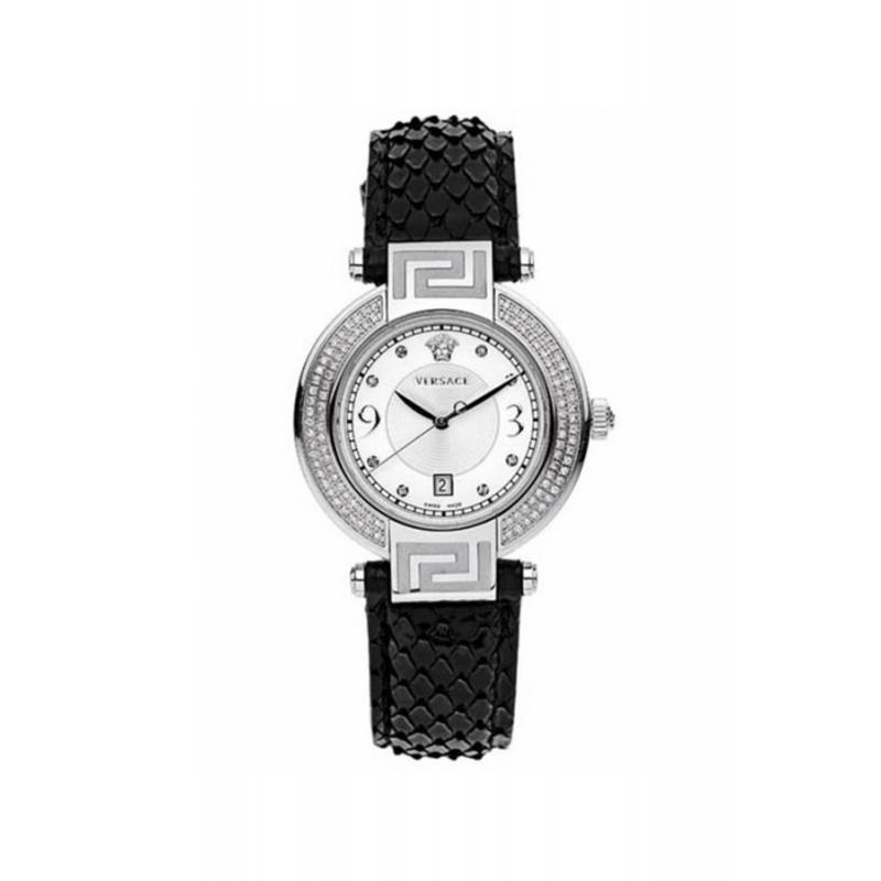 Reloj Versace Rêve de mujer con diamantes en el bisel y correa de piel negra 68Q91SD498S009