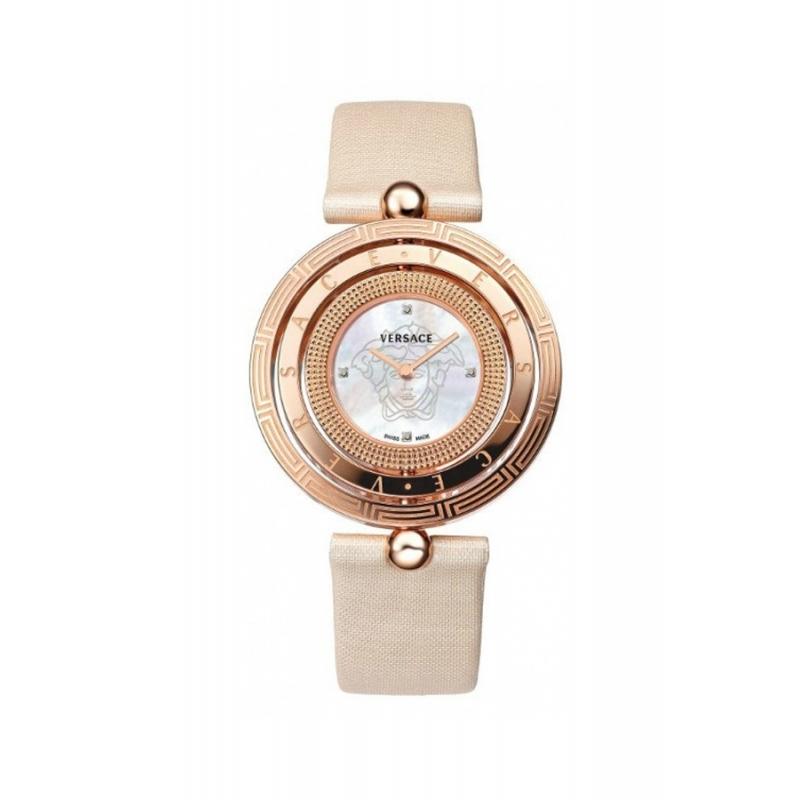 """Reloj Versace de mujer """"Eon"""" dorado con correa de piel, esfera de nácar y diamantes 80Q80SD497S002"""